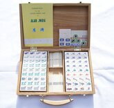 Mahjong Set in Wooden Case with Bamboo & Bone Tiles