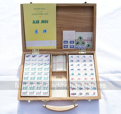 Mah jong set with bone and bamboo tiles