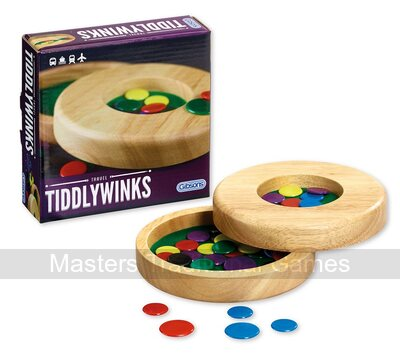 Travel Tiddlywinks - Rubberwood circular box