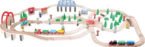 Wooden Train Set - 140 Pieces