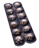 Pencil Oware Mancala Game - stained black, with glass counters