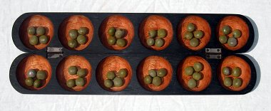 Oware Mancala game (pencil style with bonduc seeds, Mahogany, Sankofa)