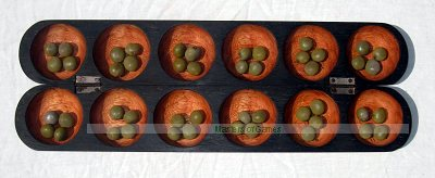 Oware Mancala game (pencil style with bonduc seeds, Mahogany, Gye Nyame)