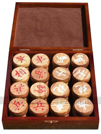 Wooden Xiang-Qi Pieces in Case - 45mm diameter