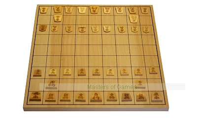 Wooden Shogi (Japanese Chess) Board with Wooden Pieces