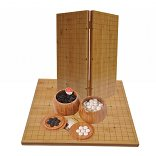 Go Set with Hinged Bamboo Board, Single-Convex Stones & Bowls