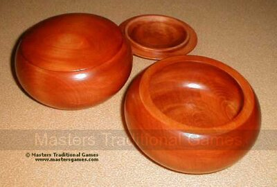 Wooden Go Bowls - Pair, Linden Wood, Reddish Finish