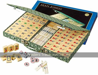 Philos Mah Jong in fabric case with bamboo tiles