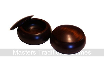 Wooden Go Bowls - Pair, Linden Wood, Dark Stain Finish