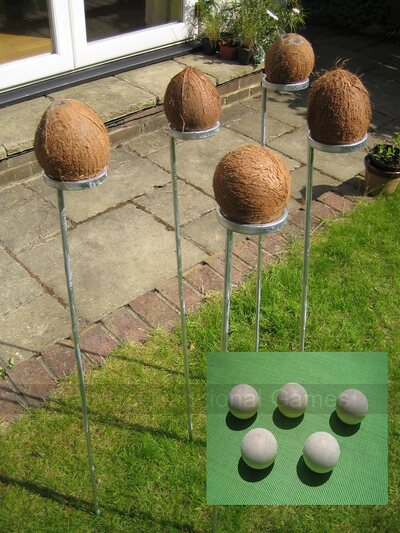 Standard Coconut Shy bundle. 5 coconut shy posts & 15 wooden balls