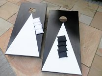 Cornhole - Full Euro Set - Black & White (2 boards, 8 bags, scoreboard)
