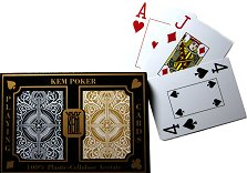 KEM Poker Playing Cards - Wide, Jumbo Index - Black & Gold Arrow