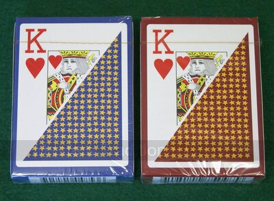 6 Decks of 100% plastic playing cards (3 burgundy, 3 blue)