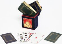 Gilt-edged playing cards in hand-made box - Rococo blue & green design
