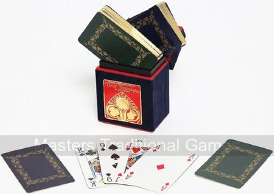 Gilt-edged playing cards in hand-made box - blue & green