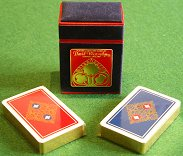 Gilt-edged playing cards in hand-made box - Lys de France red & blue design