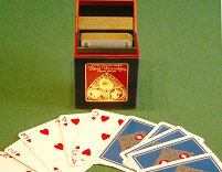 Gilt-edged playing cards in hand-made box - red & blue