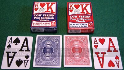 Low Vision Broad-Size Playing Cards - 1 x red & 1 x blue