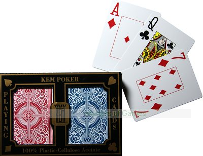 Kem Poker Playing Cards (Wide, Super index, Arrow - red/blue decks)