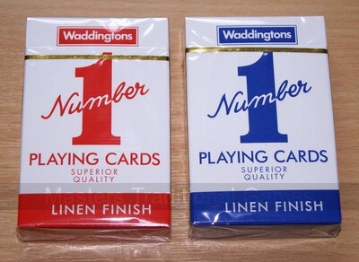 Pair of Waddingtons No. 1 Playing Cards (1 red, 1 blue)