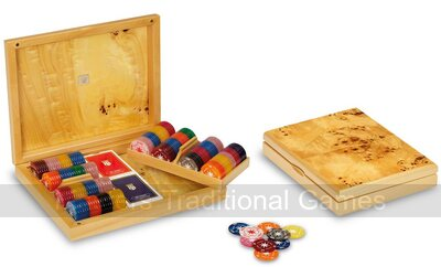 Dal Negro Aspen Poker Set -  Poplar Briar Box, 176 Chips