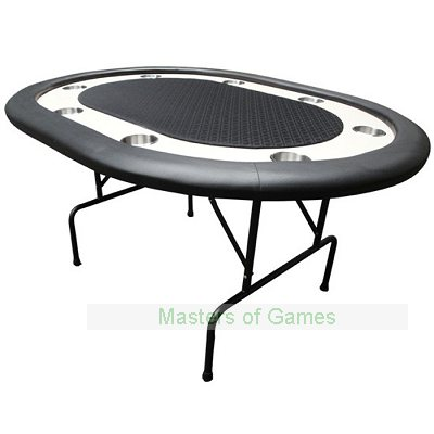 Premium Compact 8 Person Poker Table w/ Folding Metal Legs � Black Speed Cloth