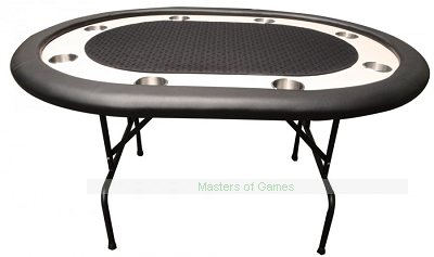 Premium Compact 8 Person Poker Table - Folding Legs - Black Cloth