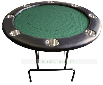Round Poker Table with Folding Metal Legs (122cm) - Green Suited Speed Cloth