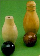 Devonshire skittle pin, kingpin with composition and Lignum Vitae balls