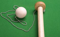 Ball (birch), chain, rotating disk and fixings for 2 x 1 foot hand-made Oak Bar Skittles (38mm diameter ball, chain length customisable, need to drill 3/16 inch diameter hole in pole top)