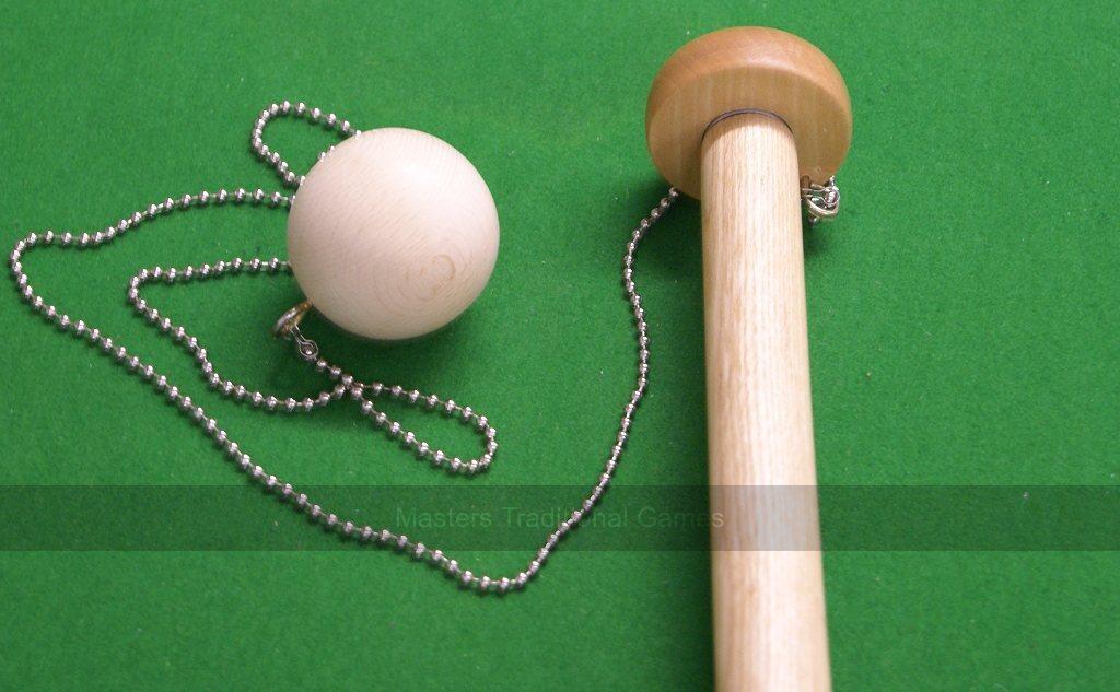 Ball (birch) and chain for 2 x 1 foot hand-made Oak Bar Skittles (38mm  diameter, chain length customisable)