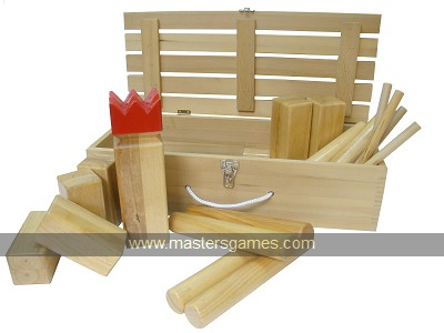 Kubb Deluxe - Rubberwood with corner posts in wooden box