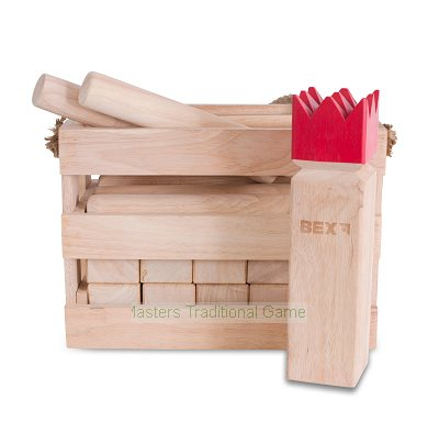 Bex Kubb Original in Wooden Box - Rubberwood (Red topped King)