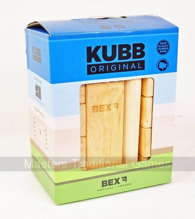 Kubb - Rubberwood (plain topped King) with corner posts and bag