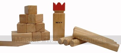 Kubb Pro Red King - Tournament Rubberwood Kubb Set