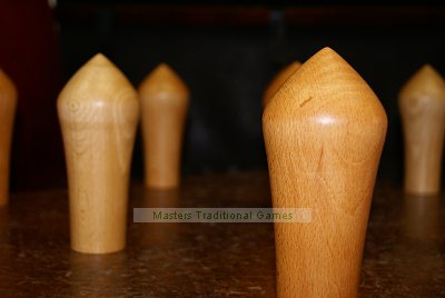 Set of solid Beech Northamptonshire skittles (9 pins)