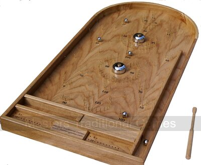 Hand-made Oak Bagatelle game with bells and cue