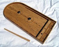 Luxury Handmade Oak Bagatelle Game with Bells & Cue
