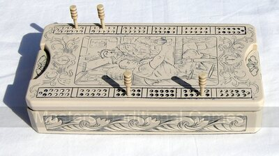 Replica Scrimshaw Cribbage Box