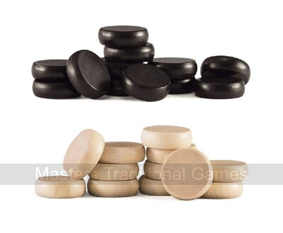 Set of Crokinole disks ( black and natural wood)