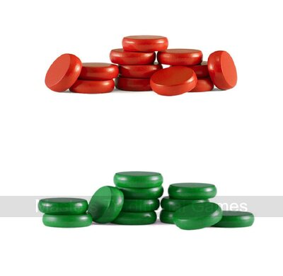Set of Crokinole disks (12 red, 12 green plus 2 spares)