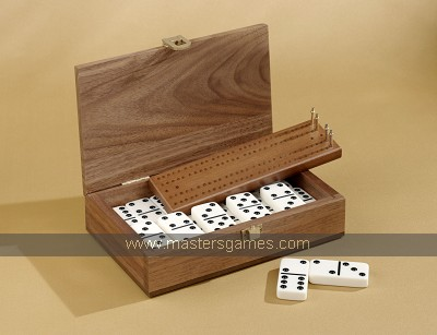 Double Six Dominoes in American Walnut Box