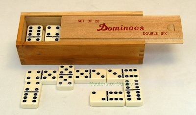 Tournament Double 6 Dominoes with spinners in wooden box