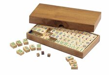 Wooden Mah Jong set with wooden tiles (no English numbering)