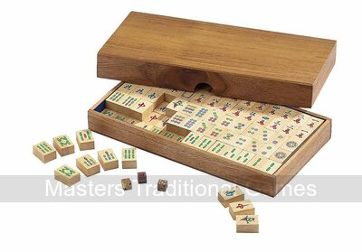 Philos Wooden Mah Jong set with wooden tiles (no English numbering)