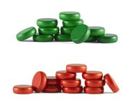Set of Mini Crokinole discs (12 red, 12 green plus 2 spares)