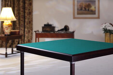 Pelissier Premier Bridge Table -  Mahogany Finish with Green Baize
