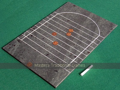 Tournament Slate Shove Ha'penny (smoothed ha'pennies - tails visible)