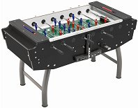 FAS Striker Glass-top Football Table (Black, Freeplay)