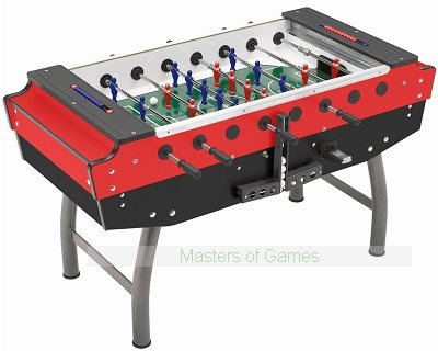 FAS Striker Glass-top Football Table (Red/Black, Freeplay)
